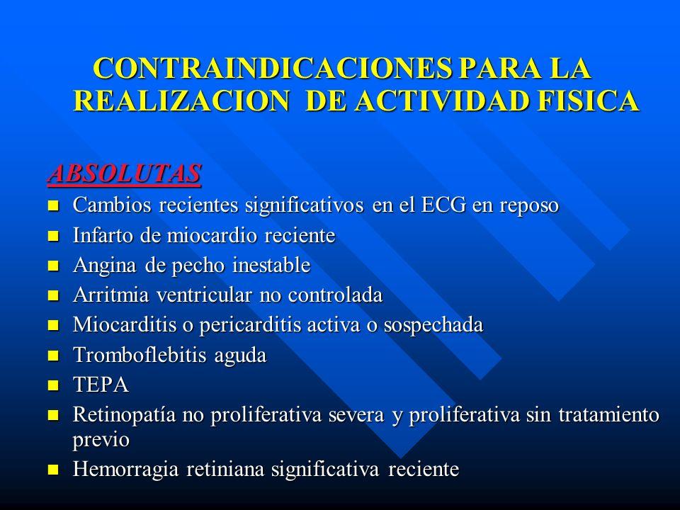 CONTRAINDICACIONES PARA LA REALIZACION DE ACTIVIDAD FISICA