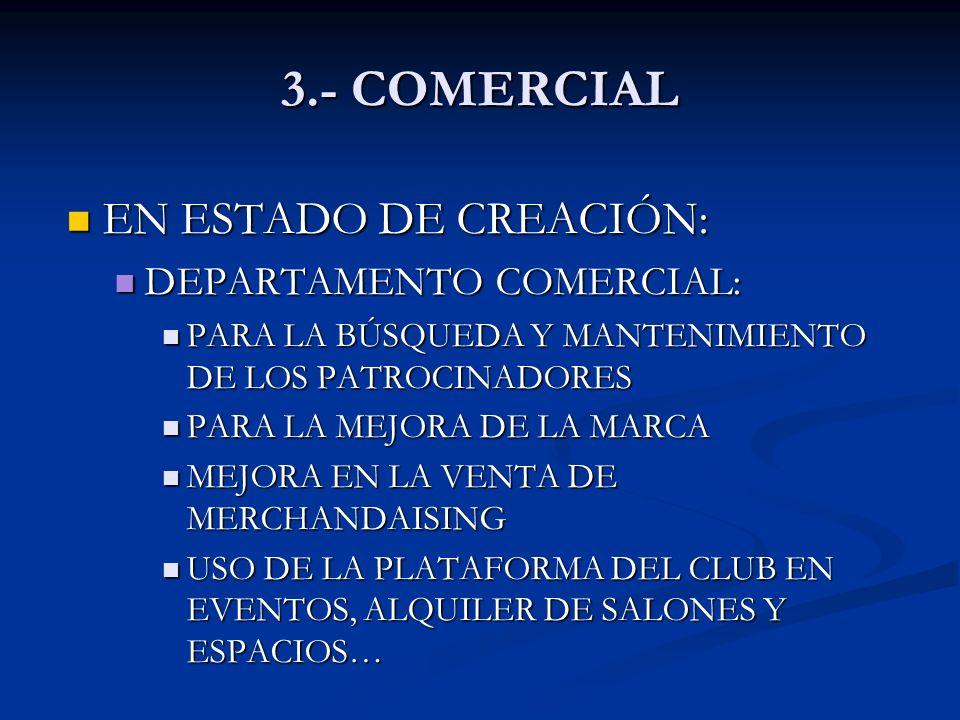 3.- COMERCIAL EN ESTADO DE CREACIÓN: DEPARTAMENTO COMERCIAL: