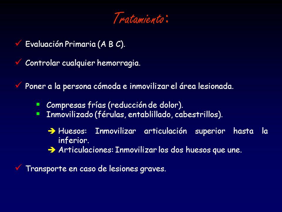Tratamiento: Evaluación Primaria (A B C).