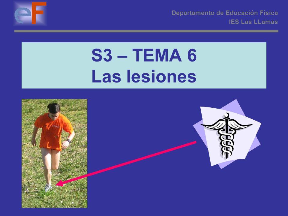 S3 – TEMA 6 Las lesiones Departamento de Educación Física