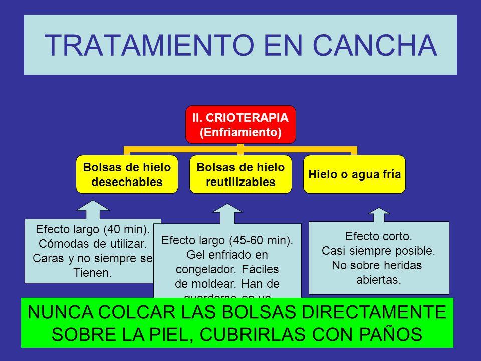 TRATAMIENTO EN CANCHA NUNCA COLCAR LAS BOLSAS DIRECTAMENTE