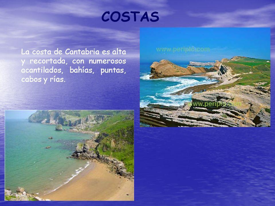 COSTASLa costa de Cantabria es alta y recortada, con numerosos acantilados, bahías, puntas, cabos y rías.