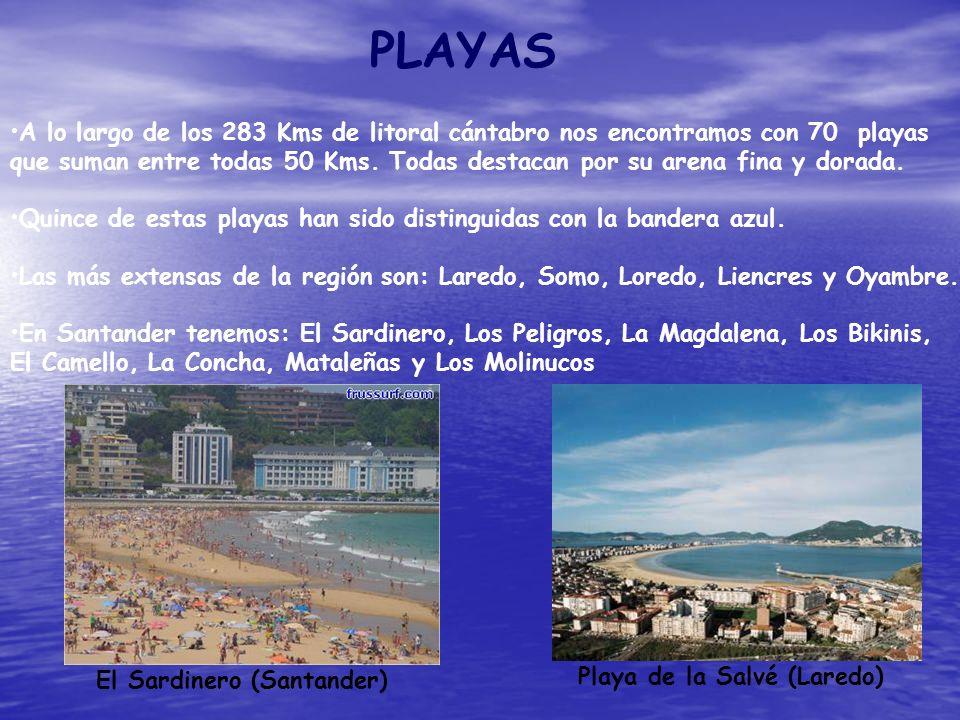 PLAYAS A lo largo de los 283 Kms de litoral cántabro nos encontramos con 70 playas.