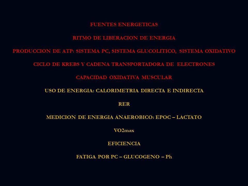 RITMO DE LIBERACION DE ENERGIA