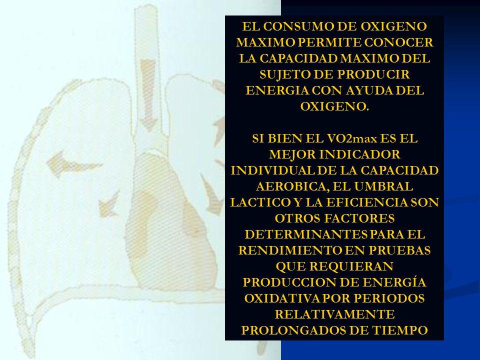 EL CONSUMO DE OXIGENO MAXIMO PERMITE CONOCER LA CAPACIDAD MAXIMO DEL SUJETO DE PRODUCIR ENERGIA CON AYUDA DEL OXIGENO.