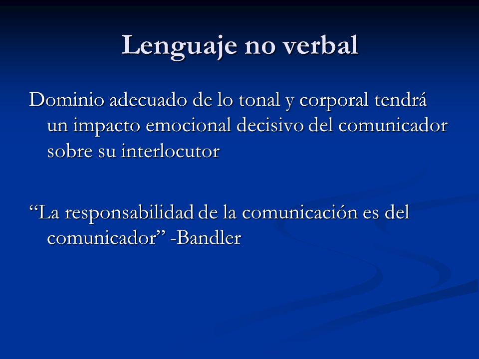 Lenguaje no verbal Dominio adecuado de lo tonal y corporal tendrá un impacto emocional decisivo del comunicador sobre su interlocutor.