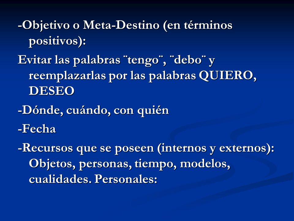 -Objetivo o Meta-Destino (en términos positivos):