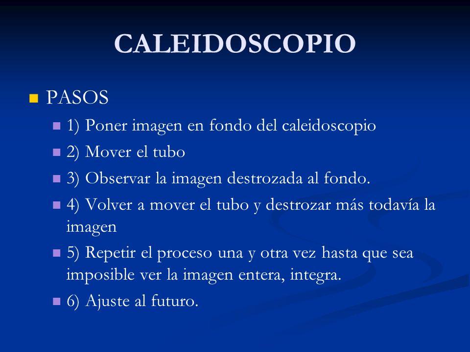 CALEIDOSCOPIO PASOS 1) Poner imagen en fondo del caleidoscopio
