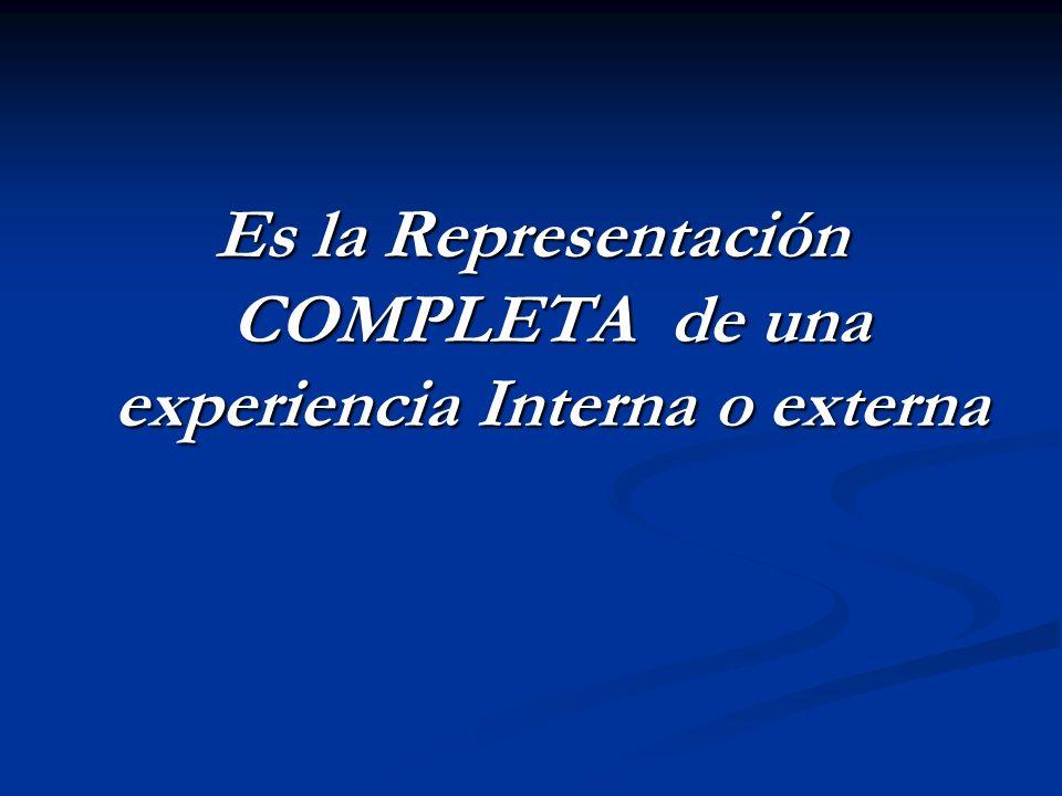Es la Representación COMPLETA de una experiencia Interna o externa