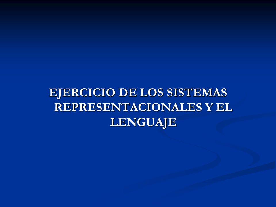 EJERCICIO DE LOS SISTEMAS REPRESENTACIONALES Y EL LENGUAJE