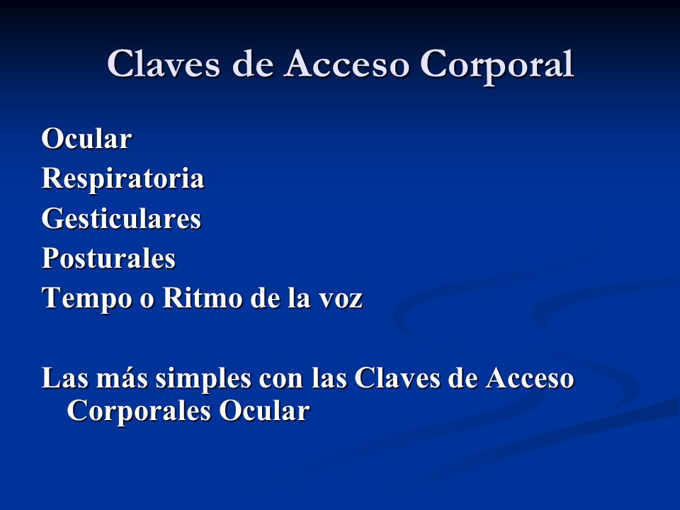 Claves de Acceso Corporal