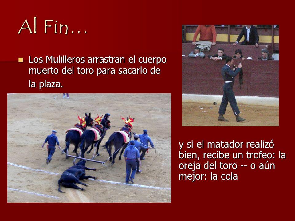 Al Fin… Los Mulilleros arrastran el cuerpo muerto del toro para sacarlo de la plaza.