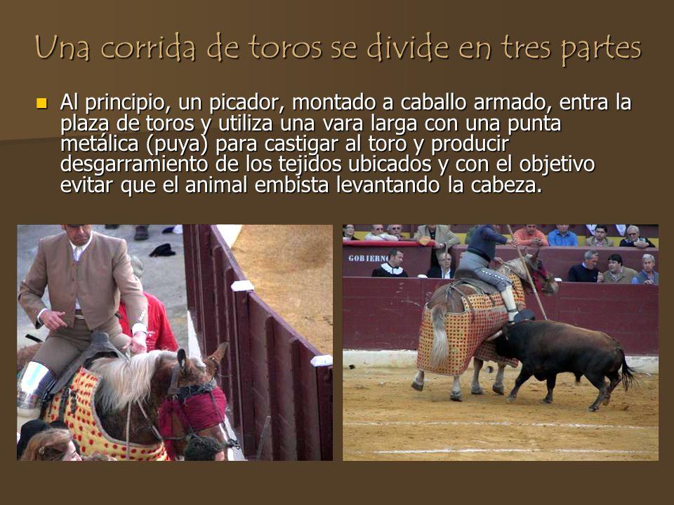 Una corrida de toros se divide en tres partes