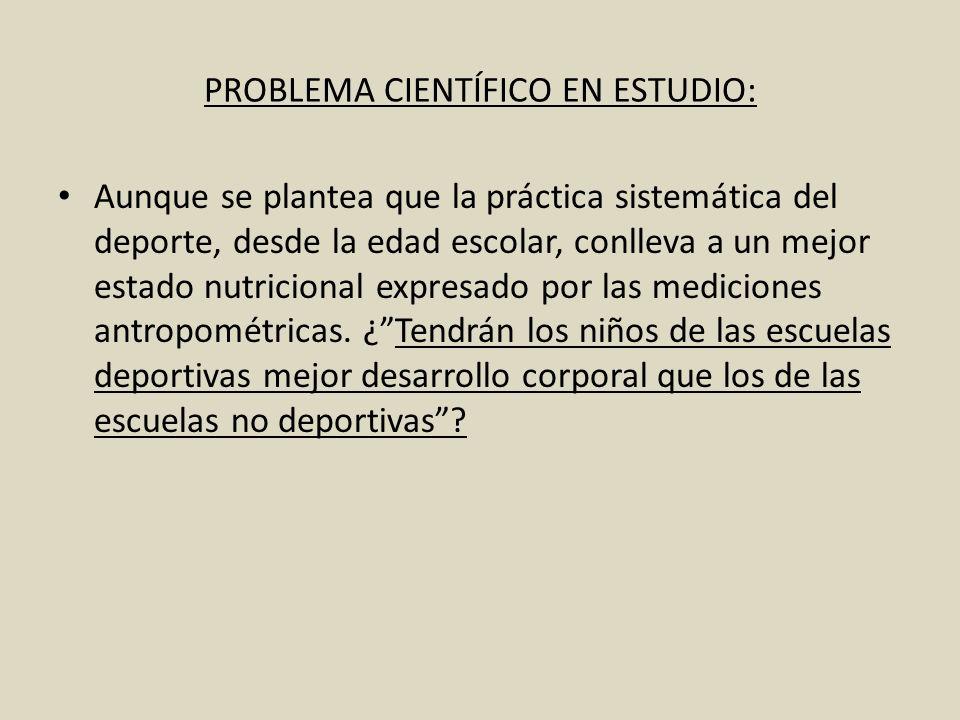 PROBLEMA CIENTÍFICO EN ESTUDIO:
