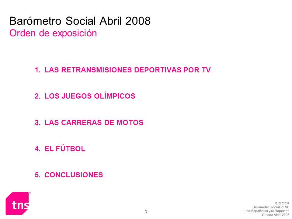 Barómetro Social Abril 2008 Orden de exposición