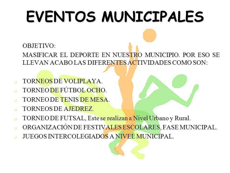 EVENTOS MUNICIPALES OBJETIVO: