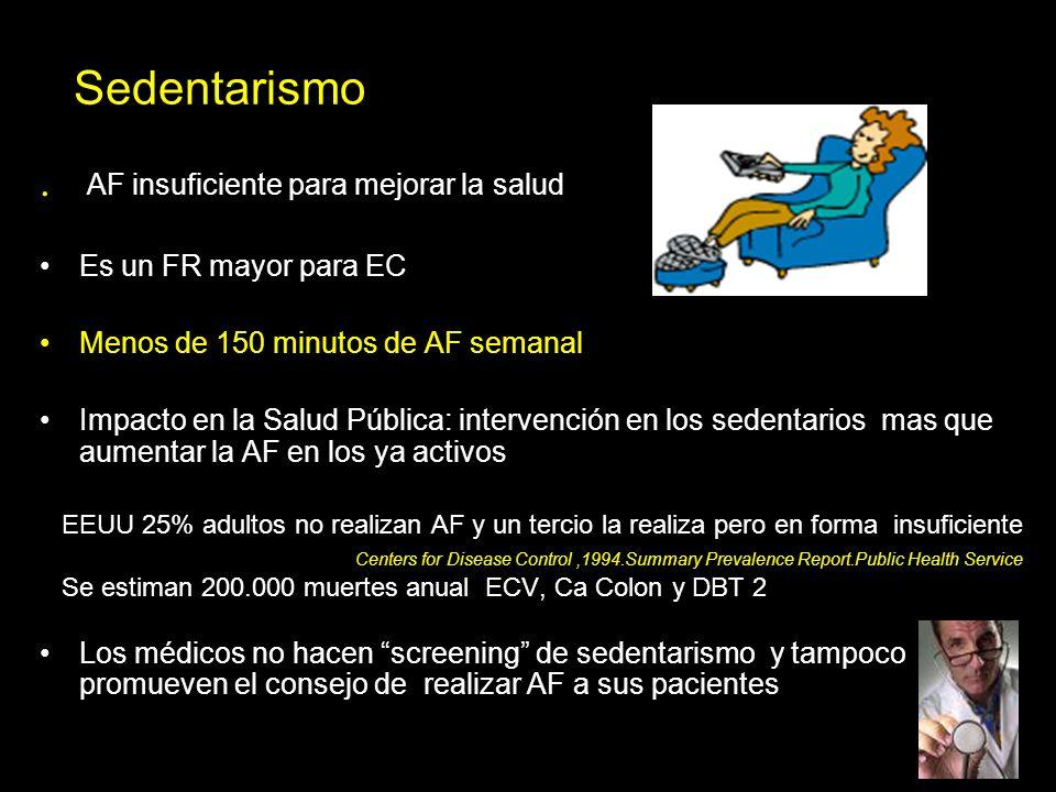 Sedentarismo . AF insuficiente para mejorar la salud