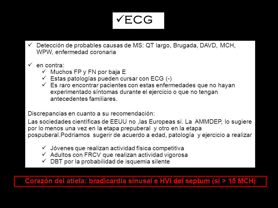 ECG Detección de probables causas de MS: QT largo, Brugada, DAVD, MCH, WPW, enfermedad coronaria. en contra: