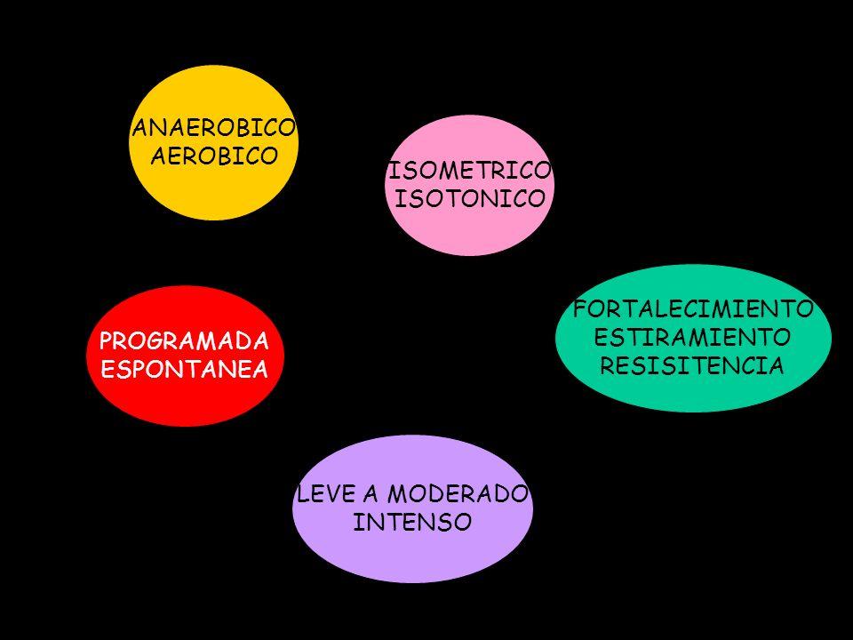 ANAEROBICO AEROBICO. ISOMETRICO. ISOTONICO. FORTALECIMIENTO. ESTIRAMIENTO. RESISITENCIA. PROGRAMADA.