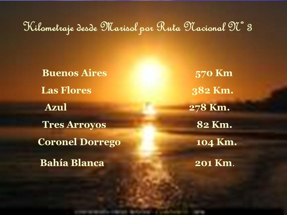 Kilometraje desde Marisol por Ruta Nacional Nº 3