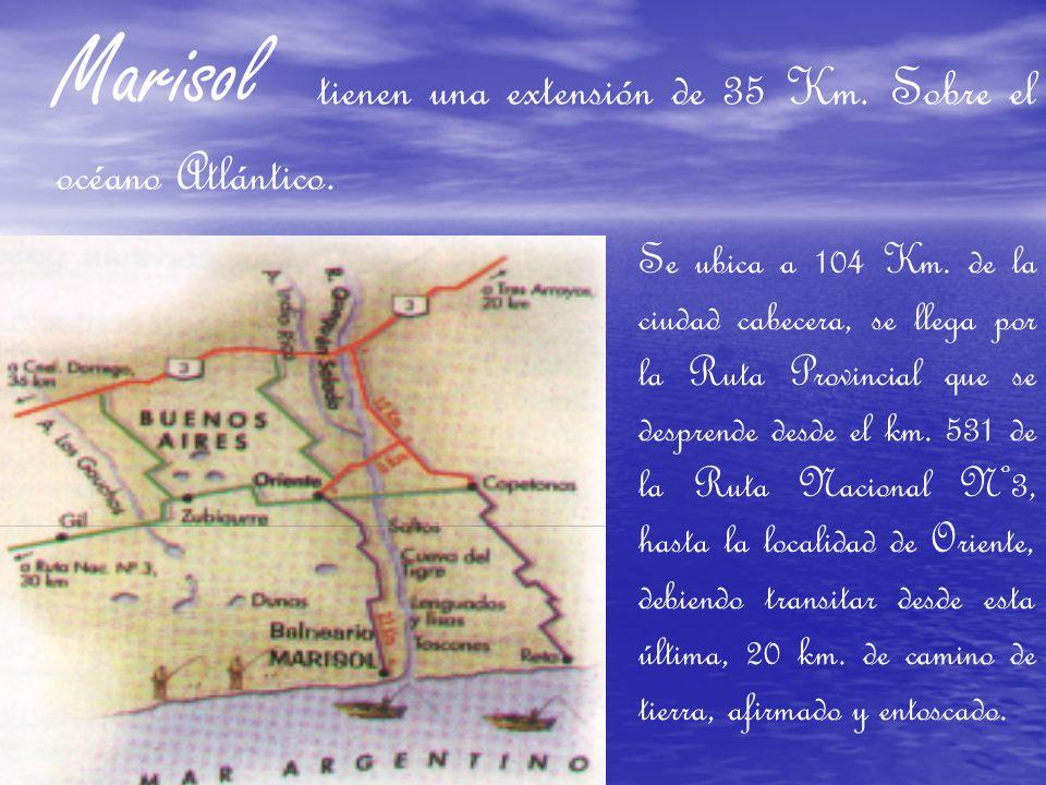 Marisol tienen una extensión de 35 Km. Sobre el océano Atlántico.