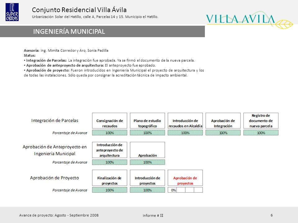 INGENIERÍA MUNICIPAL Asesoría: Ing. Mimita Corredor y Arq. Sonia Padilla. Status: