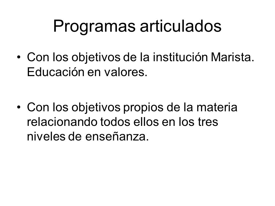 Programas articulados