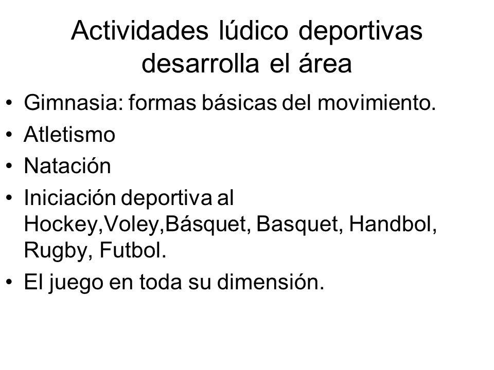 Actividades lúdico deportivas desarrolla el área
