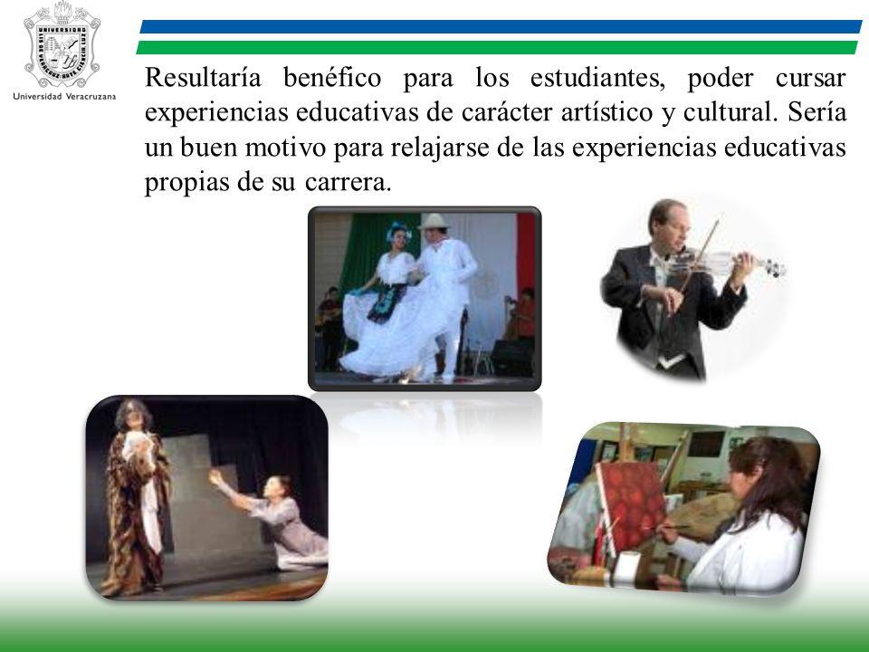 Resultaría benéfico para los estudiantes, poder cursar experiencias educativas de carácter artístico y cultural.