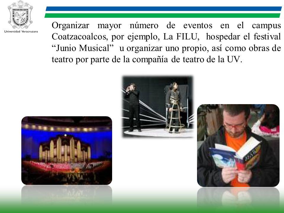 Organizar mayor número de eventos en el campus Coatzacoalcos, por ejemplo, La FILU, hospedar el festival Junio Musical u organizar uno propio, así como obras de teatro por parte de la compañía de teatro de la UV.