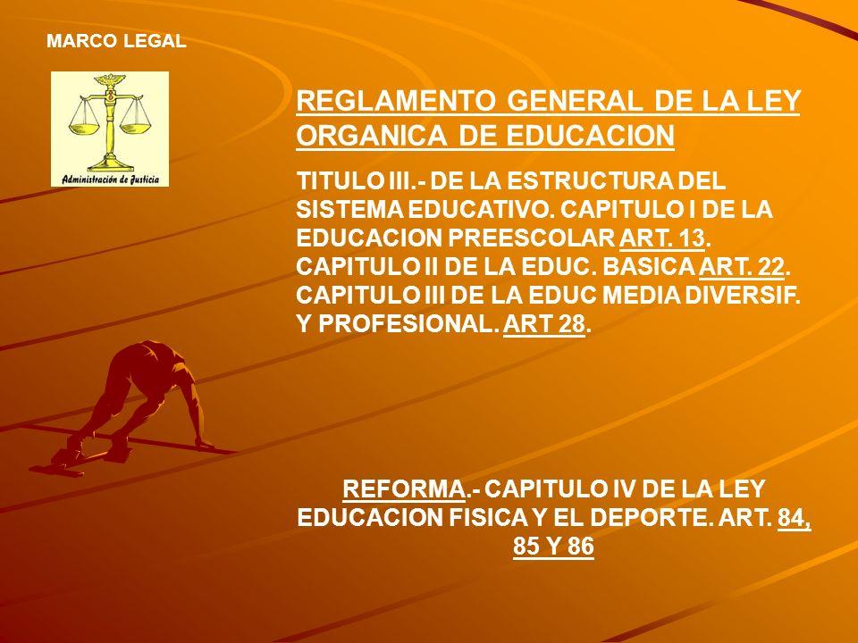 REGLAMENTO GENERAL DE LA LEY ORGANICA DE EDUCACION