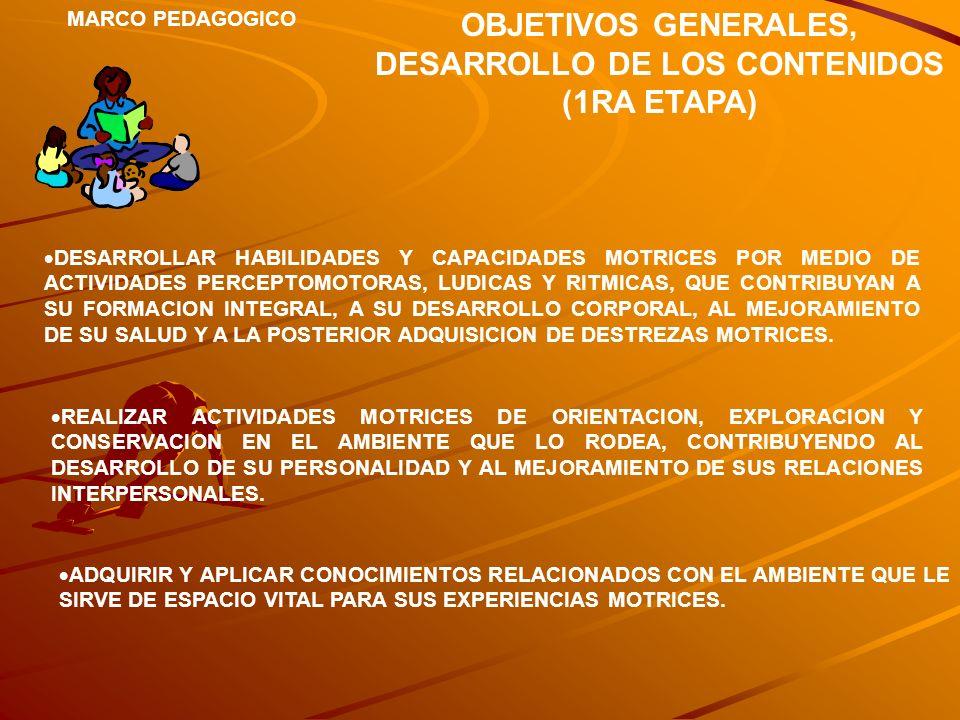 OBJETIVOS GENERALES, DESARROLLO DE LOS CONTENIDOS (1RA ETAPA)