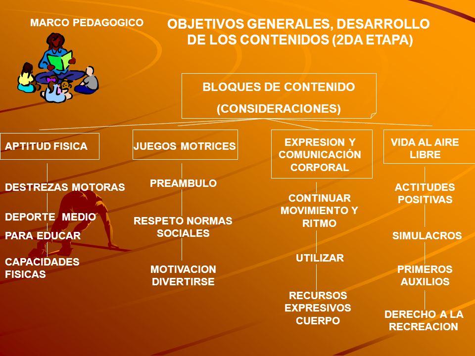OBJETIVOS GENERALES, DESARROLLO DE LOS CONTENIDOS (2DA ETAPA)