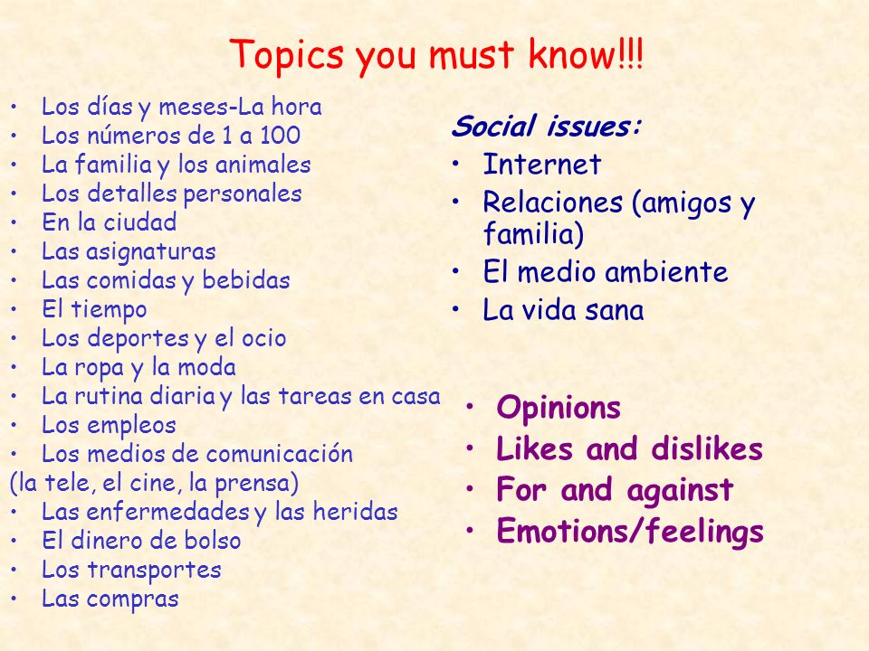 Topics you must know!!! Opinions Likes and dislikes For and against