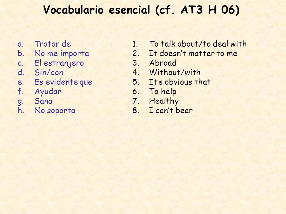 Vocabulario esencial (cf. AT3 H 06)