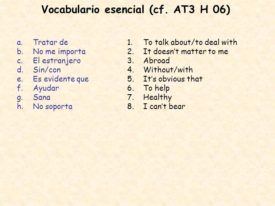 Vocabulario esencial (cf. AT3 H 06)