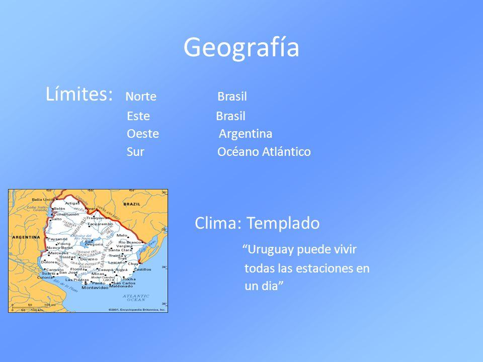 Geografía Límites: Norte Brasil Clima: Templado Uruguay puede vivir