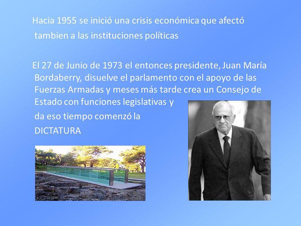 Hacia 1955 se inició una crisis económica que afectó tambien a las instituciones políticas