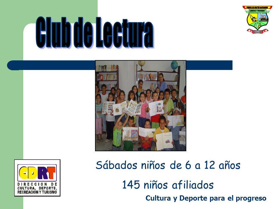 Club de Lectura Sábados niños de 6 a 12 años 145 niños afiliados