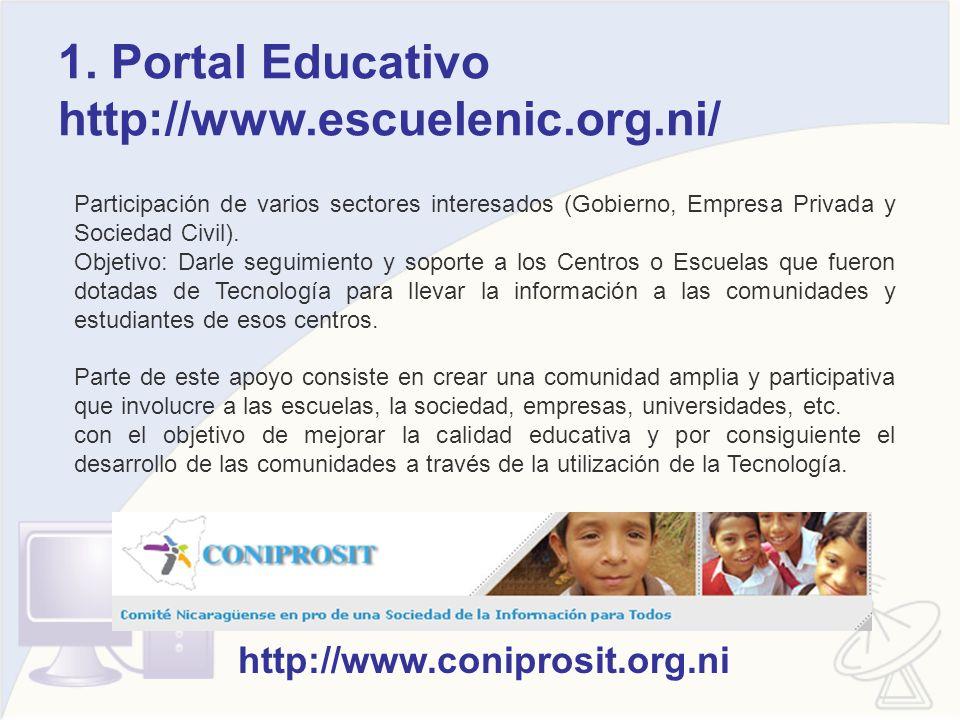 1. Portal Educativo http://www.escuelenic.org.ni/