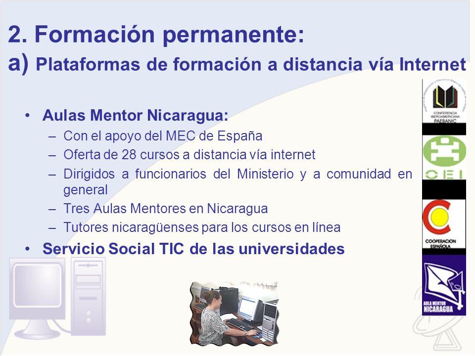 2. Formación permanente: a) Plataformas de formación a distancia vía Internet