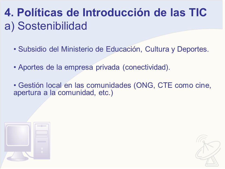 4. Políticas de Introducción de las TIC a) Sostenibilidad