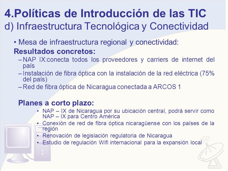 4.Políticas de Introducción de las TIC d) Infraestructura Tecnológica y Conectividad