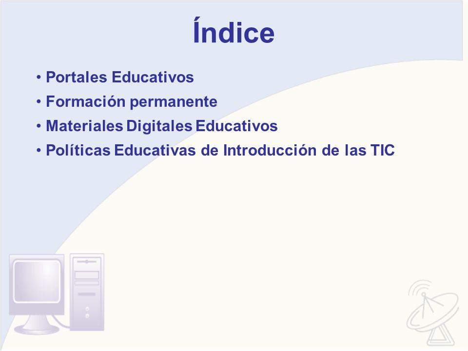 Índice Portales Educativos Formación permanente