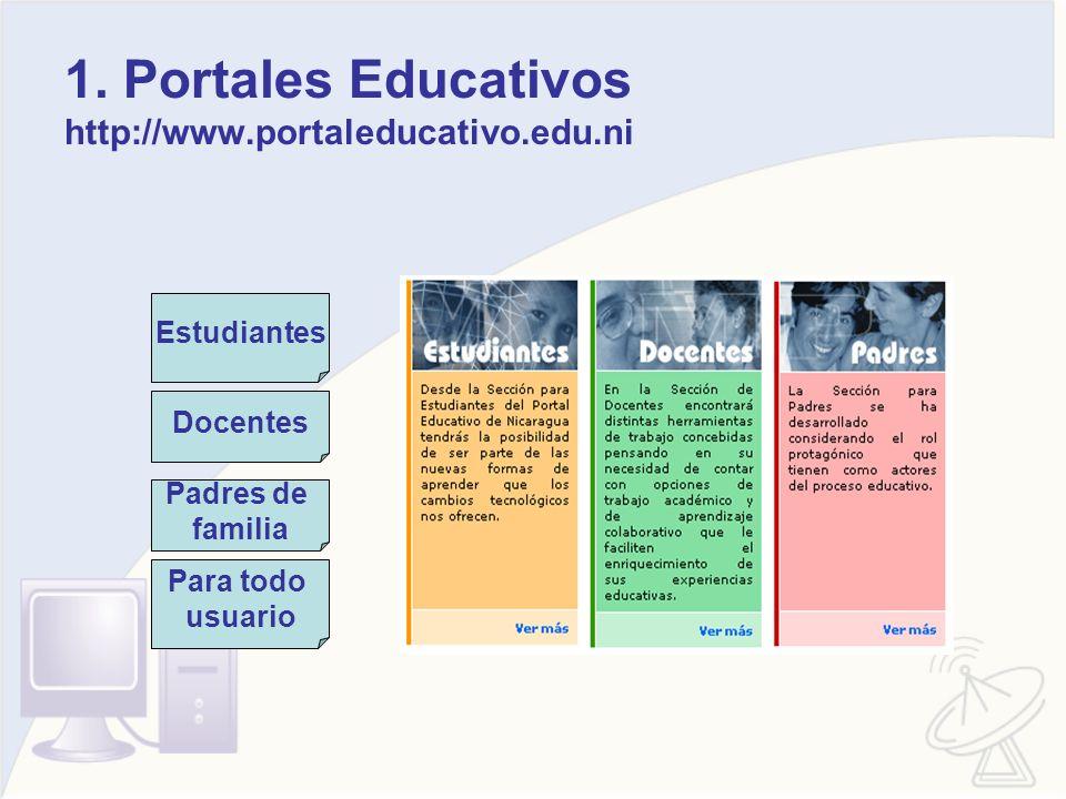 1. Portales Educativos http://www.portaleducativo.edu.ni