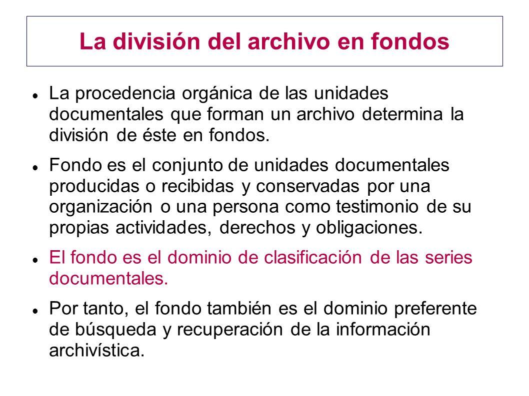 La división del archivo en fondos