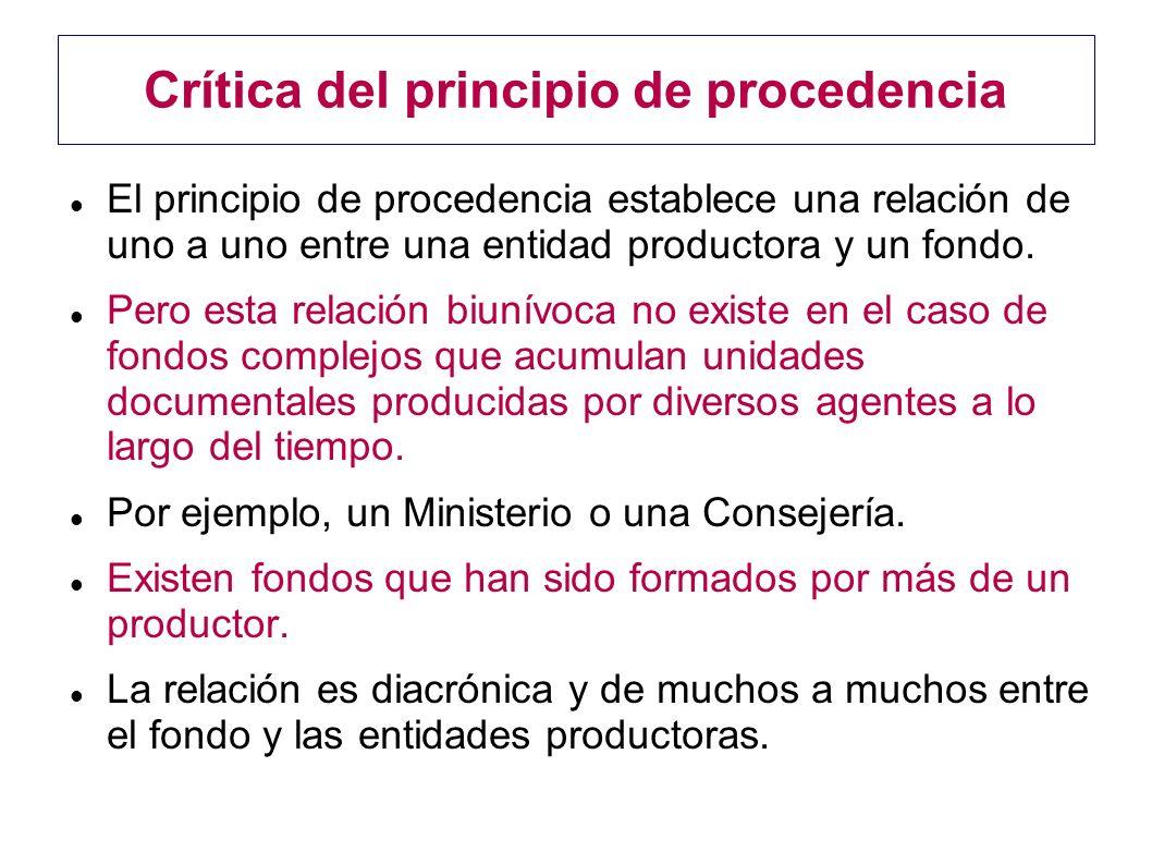 Crítica del principio de procedencia