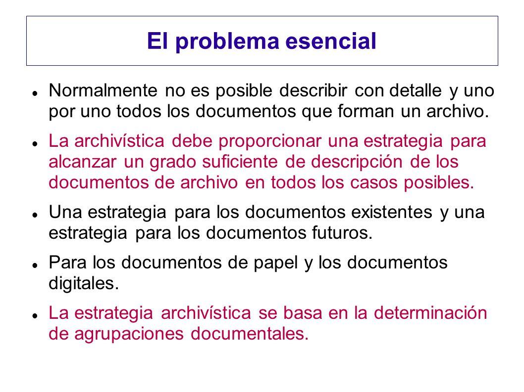 El problema esencialNormalmente no es posible describir con detalle y uno por uno todos los documentos que forman un archivo.