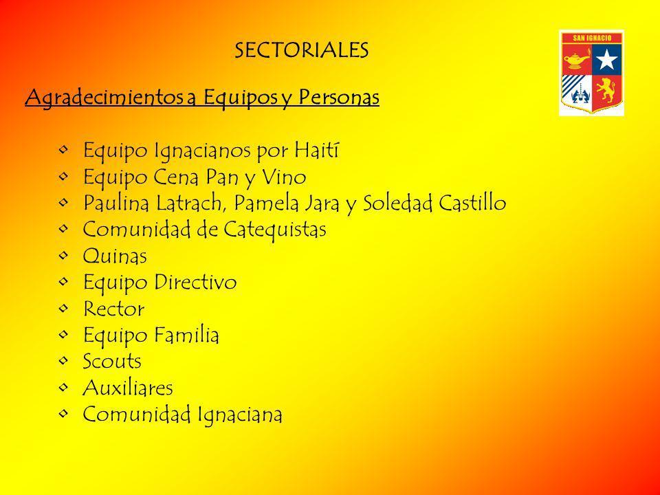 SECTORIALES Agradecimientos a Equipos y Personas. Equipo Ignacianos por Haití. Equipo Cena Pan y Vino.