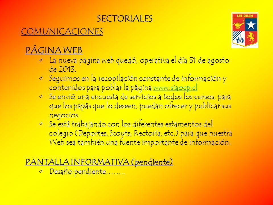 SECTORIALES COMUNICACIONES PÁGINA WEB PANTALLA INFORMATIVA (pendiente)